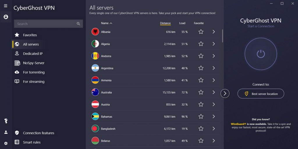 Cyberghost windows servers
