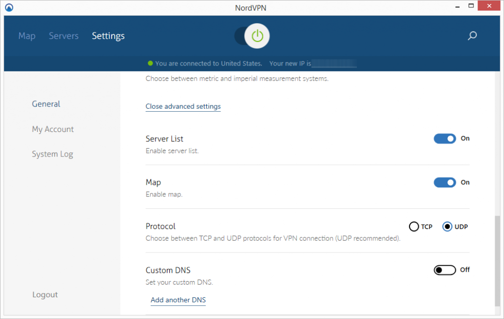 nordvpn advanced settings
