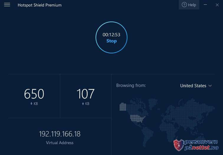 Hotspot Shield: Brukervennlig grensesnitte