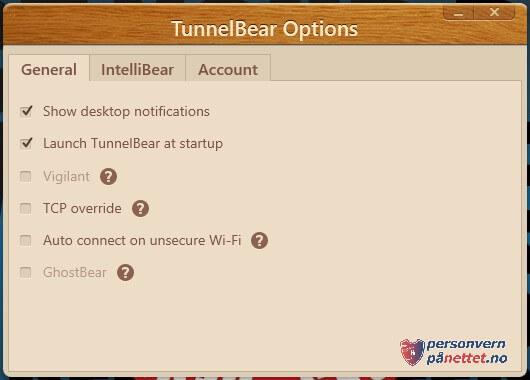 TunnelBear VPN innstillinger
