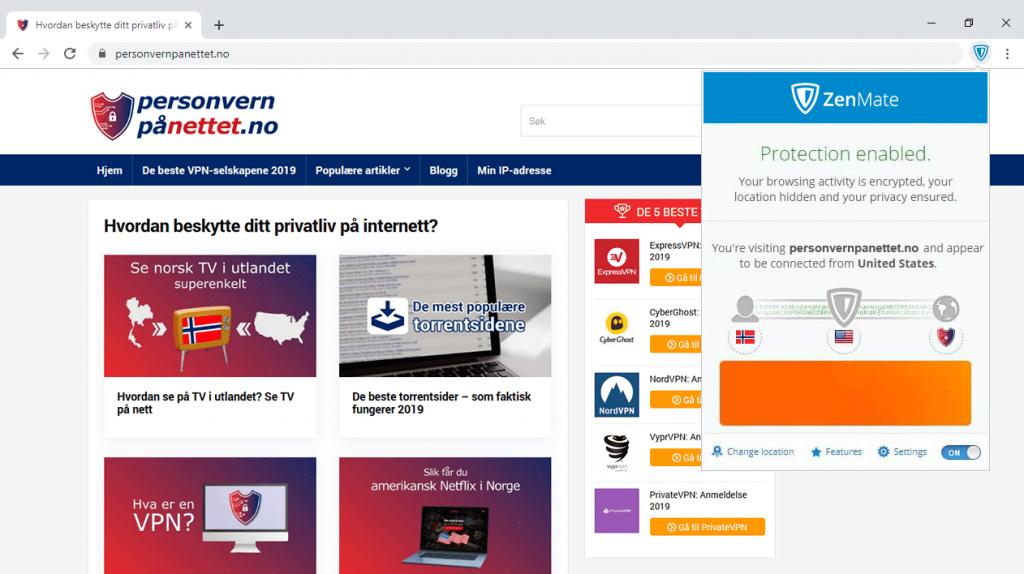 Nettleserutvidelser ZenMate VPN